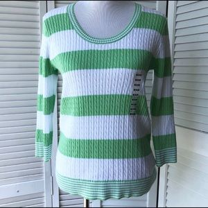 NWT Jeanne Pierre Green&White Sweater Sz M